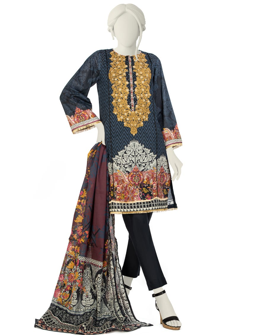 Junaid Jamshed JLAWN-S-21-218 S Black & White Eid Collection