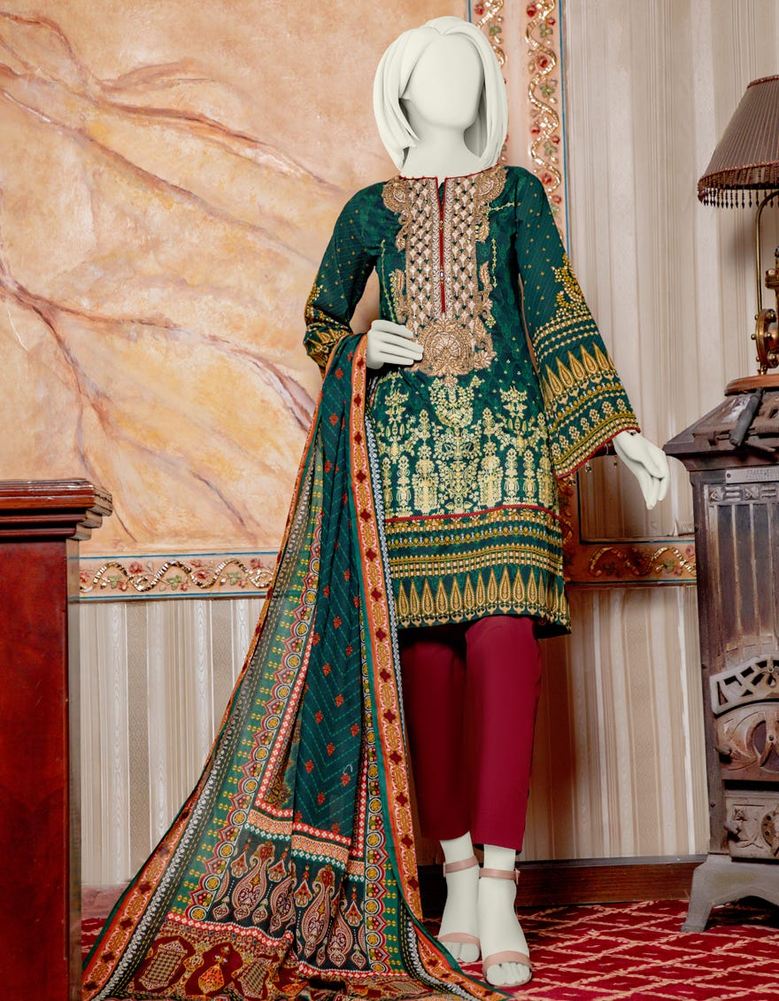 Junaid Jamshed JLAWN-S-21-222 Green Eid Collection