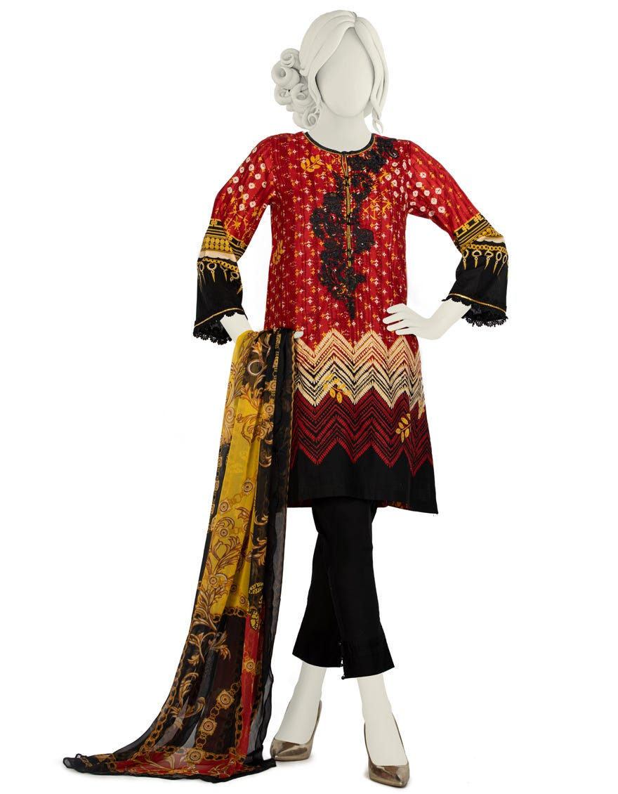 Junaid Jamshed JLAWN-S-21-730 S Reddish Eid Collection