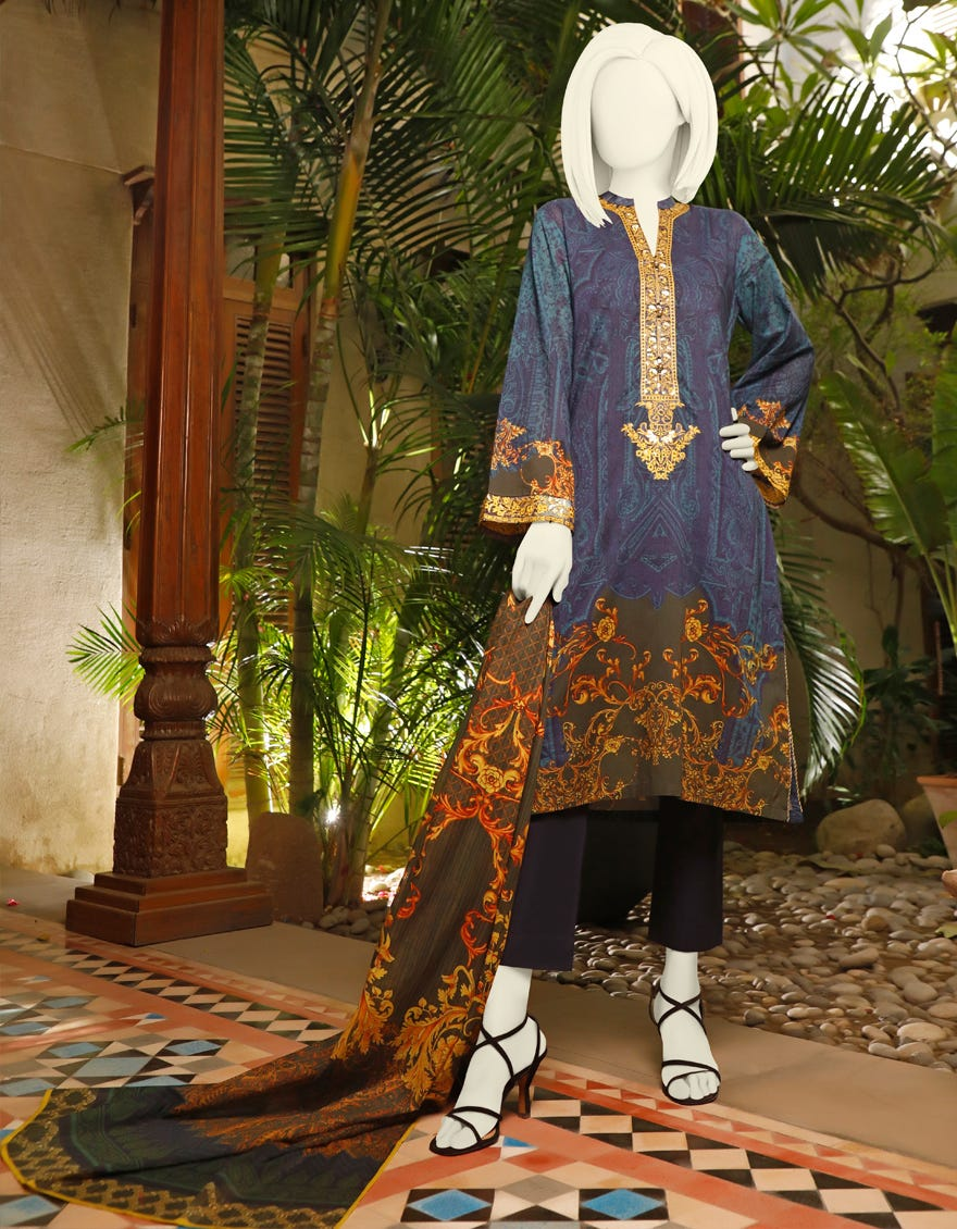 Junaid Jamshed JLAWN S-21-765 A FUSION Spring Summer