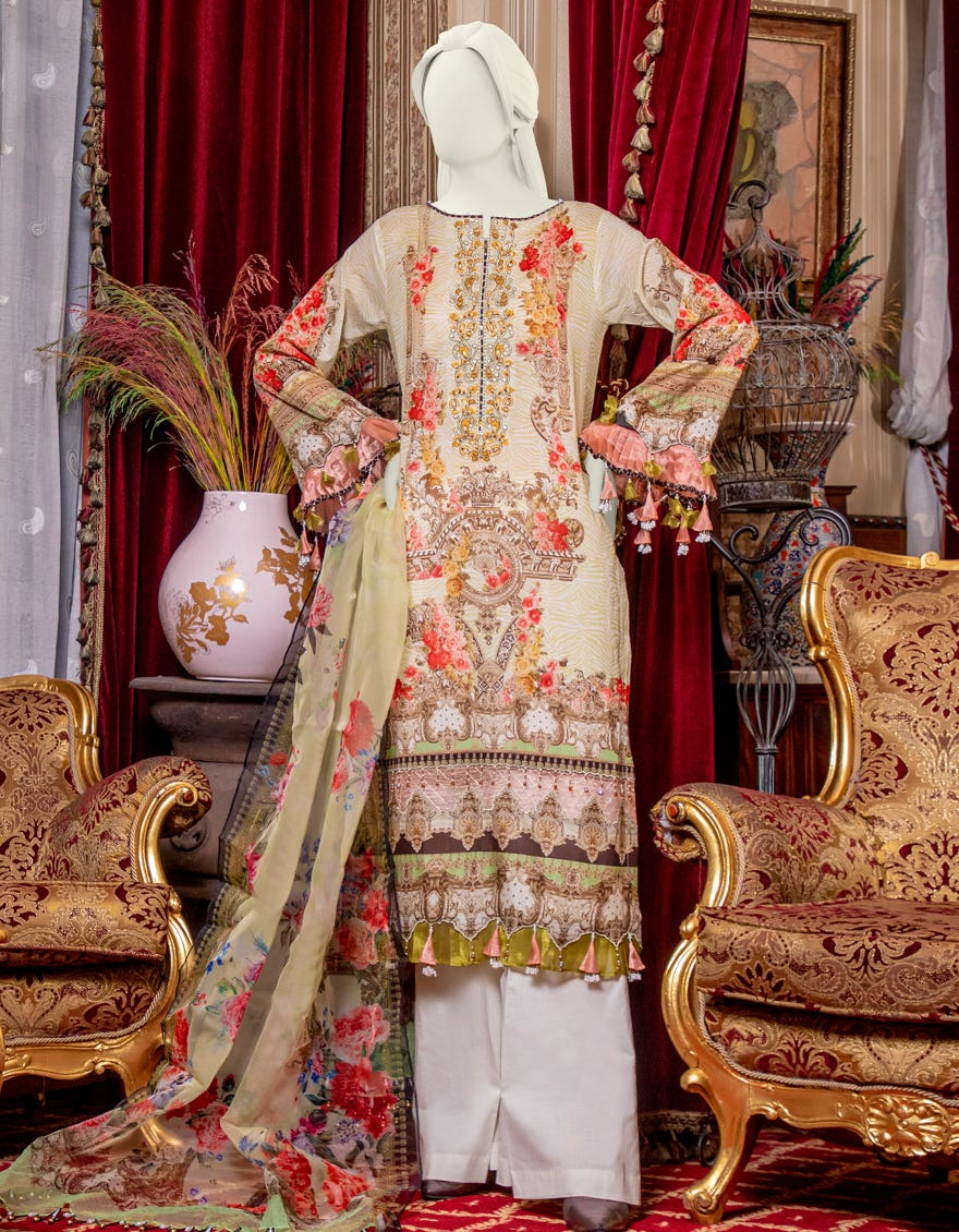 Junaid Jamshed JLAWN-S-21-776 Gold Beige Eid Collection